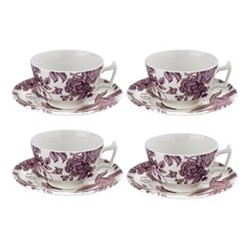 Kingsley Set of 4 tea cups and saucers, white