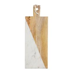 Rectangular paddle board, 18 x 49.5 x 1.5cm, Mango Wood And White Marble