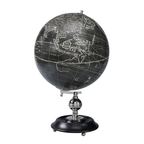 Vaugondy 1745 Globe, H50 x W32.004 x L32cm, Black With Chrome Base