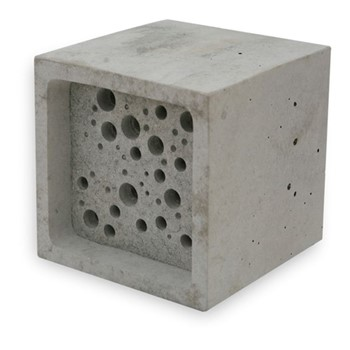 Bee Block Large bee house, 10.5 x 10.5 x 10.5cm, concrete