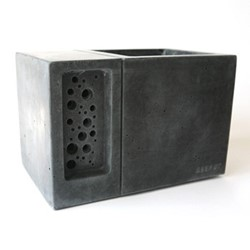 Beepot Concrete planter and bee house, 22.5 x 15 x 15.2cm, charcoal