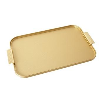 Ribbed serving tray, L46 x W30cm, diamond gold