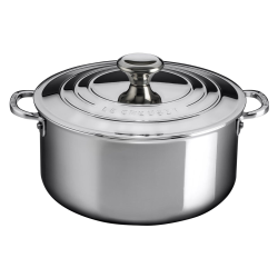 Signature Uncoated Casserole with lid, 24cm, Stainless Steel