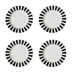 Stripy Set of 4 tea plates, Dia19cm, black/white