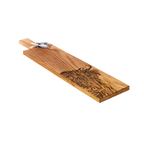 Highland Cow Long serving paddle, L65 x W15 x H2cm, Oak