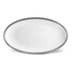 Corde Small oval platter, 36 x 18cm, platinum