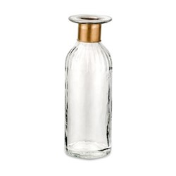 Chara Lines Large bottle, D24 x 8cm, clear glass & antique brass