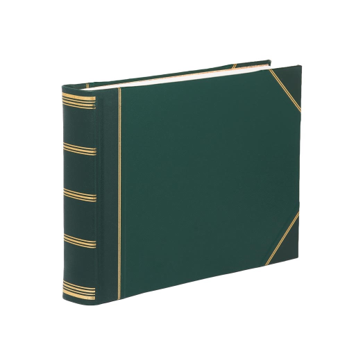 Classic Range Photograph album landscape original with 30 card pages, 28 x 38cm, green with gold corners