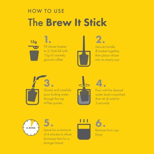 Brew It Stick Coffee and tea infuser, L6.4 x W6.4 x H20cm, Charcoal
