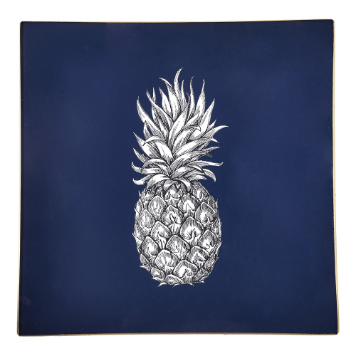 Pineapple Square decoupage tray, 20cm, Navy/Gold Edging