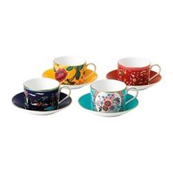 Wonderlust Set of 4 teacups & saucers, multi