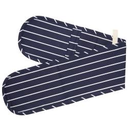 Butcher's Stripe Double oven glove, 19 x 100cm, blue