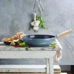 Mayflower Induction wok, 28cm, Green/Non-Stick