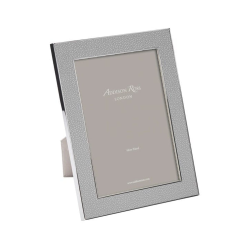 """Faux Shagreen Photograph frame, 4 x 6"""" with 24mm border, Grey With Silver Plate"""