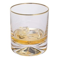 Dimple Pair of old fashioned glasses, H8.8cm - 25cl, gold
