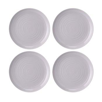 Colour Pop Set of 4 coupe plates, 27cm, mulberry