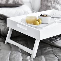 Breakfast in bed tray, L55 x W40 x H5cm , matt white