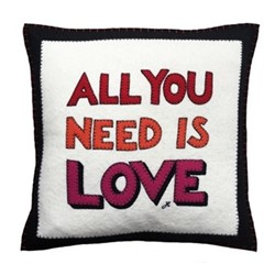 All You Need Is Love Cushion, 46 x 46cm, cream
