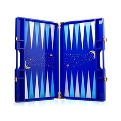 Luna Backgammon, 35.3 x 21.4 x 4.7cm, navy/light blue/gold/silver