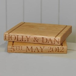 Personalised square board, 25 x 25 x 3.5cm, oak