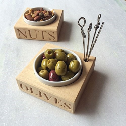 Olive Olive holder with porcelain dish and 4 picks, 3.2 x 10.5 x 10.5cm, Beech Wood, Porcelain And Stainless Steel