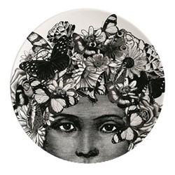 Butterfly Lady Plate, Dia25.5cm, black/white