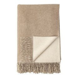 Plain Reversible double face throw, 190 x 140cm, light brown / light grey