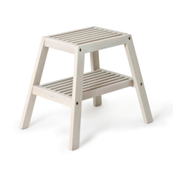 Slatted stool, H42 x W50.5 x D35.4cm, Oyster White