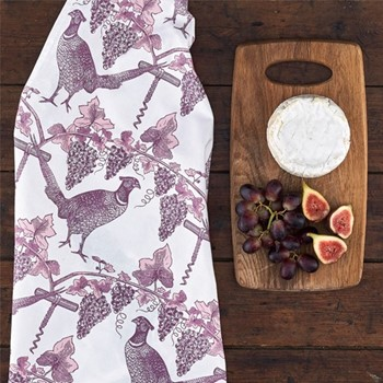 Pheasant & Vine Tea towel, 50 x 70cm, white/soft pink/dusty purple