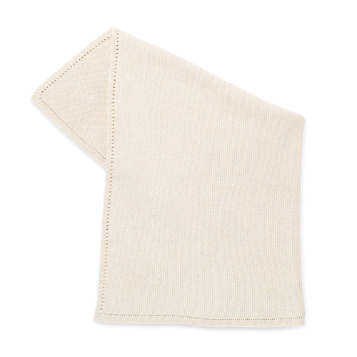 Organic Knitted Cellular baby blanket, H75 x W75 x L75cm, Linen