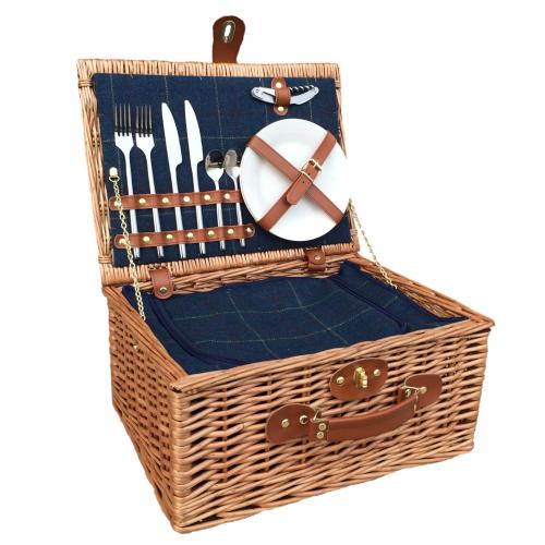 Blue Tweed Picnic hamper - 2 person, 41 x 30 x 19cm, light willow