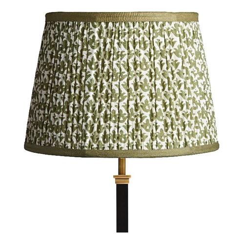 Straight Empire Block printed lampshade, 30cm, Temple Green