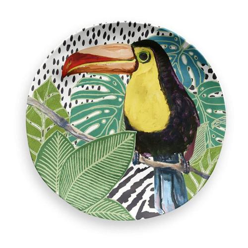 Lush Jungle - Toucan Melamine side plate, 21cm, Green