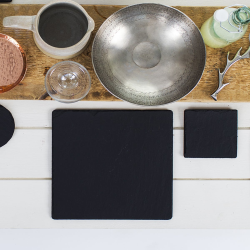 Pair of square tablemats, 25cm, Slate