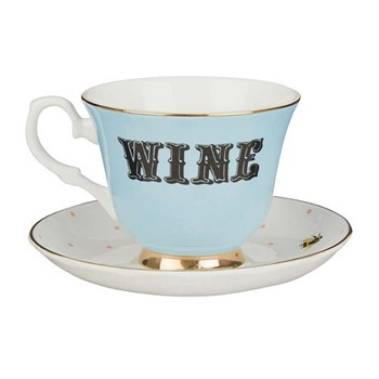 Wine Set of 6 teacups and saucers, H8 x D14cm