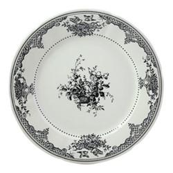 Les Depareillées - Fleurs Set of 6 dinner plates, 27cm, black