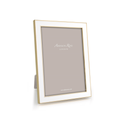 """Enamel Range Photograph frame, 4 x 6"""" with 15mm border, White With Gold Plate"""