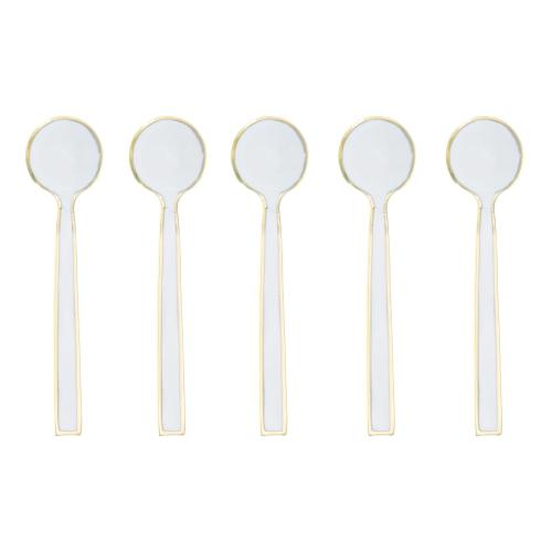 Enamel Set of 5 tea spoons, Gold/Cream