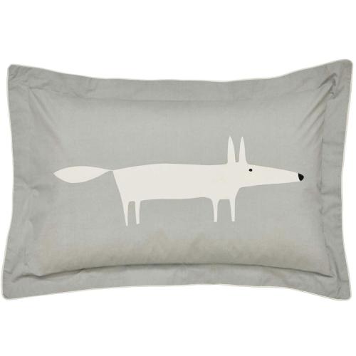 Mr Fox Oxford pillowcase, L48 x W74cm, Silver