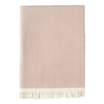 Herringbone Merino woven throw, 190 x 140cm, powder & white