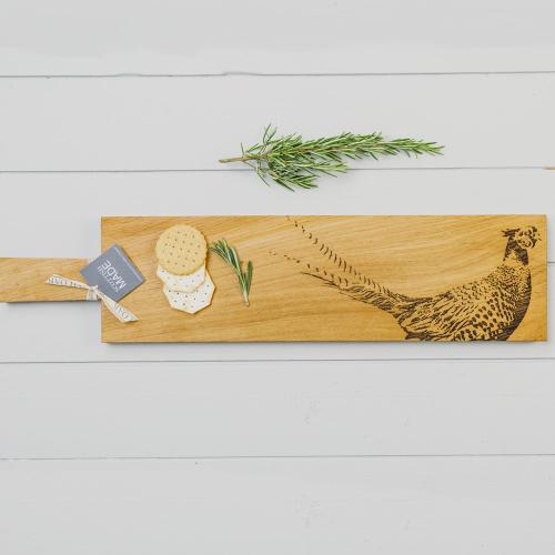 Pheasant Long serving paddle, L65 x W15 x H2cm, Oak