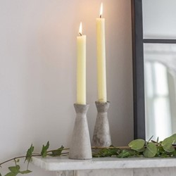 Pair of tall candle holders, H14cm, cement
