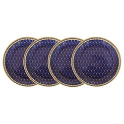 Antler Trellis Set of 4 coasters, 10.7cm, midnight blue and gold