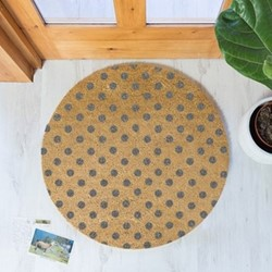 Grey Dots Circular doormat, 70cm, natural/grey