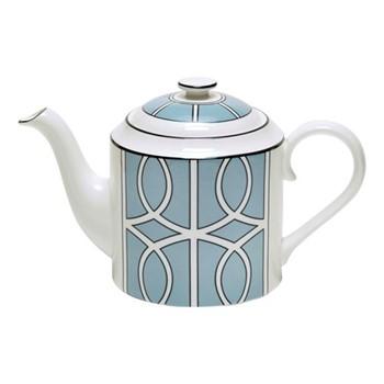 Loop Teapot, H13cm, duck egg/white