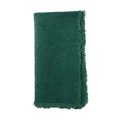 Lithuanian Set of 4 fringed napkins, 43.2 x 43.2cm, forest green linen