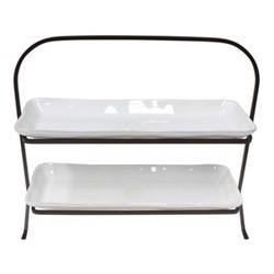 Nova 2 tier cake stand, 37cm, white