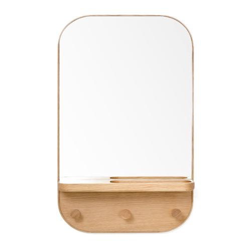 Silent Butler Storage mirror, H73.5 x W41 x D13.5cm, Oak/Mirrored Glass