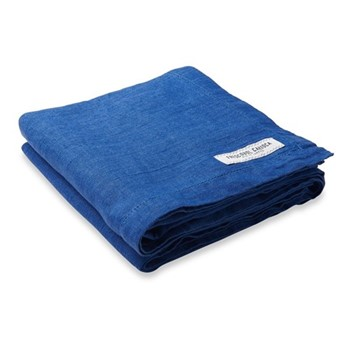 Linen beach towel, blue