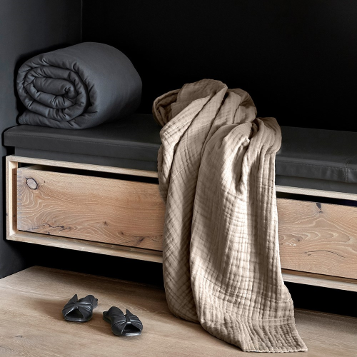 Joy Vasiljev Six Layer Soft Blanket, H200 x W140cm, Clay